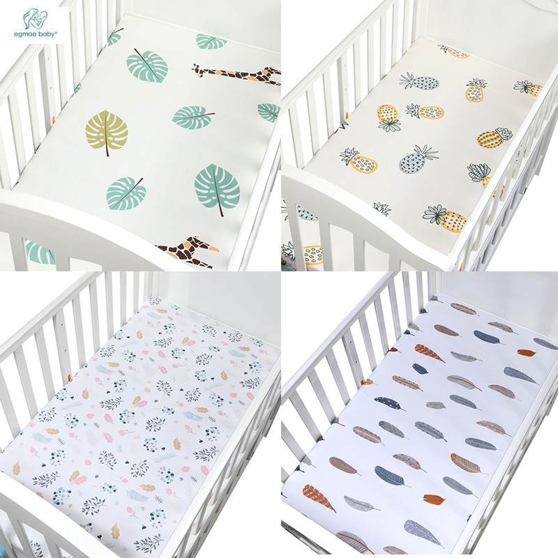 Baby Crib Fitted Sheet 100% Cotton Soft Baby Bed Mattress Cover Protector Cartoon Newborn Bedding For Cot Size 105*60cm