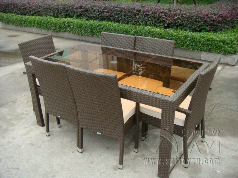 7 pcs Dark Brown Rattan Garden Dining Sets With Table And 8pcs Arms Chair transport by sea the dark garden