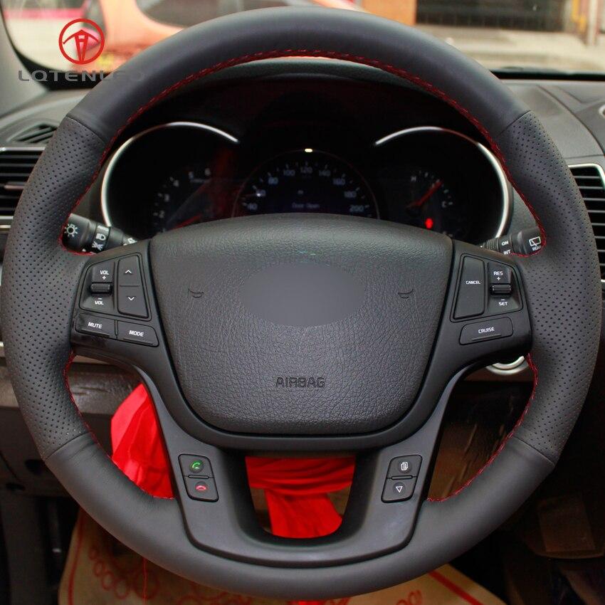 2014 Kia Cadenza Interior: LQTENLEO Black Artificial Leather Hand Stitched Car