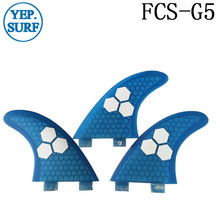 Surf Fins FCS G5 Fin Honeycomb Surfboard Fin Blue color surfing fin Quilhas thruster surf accessories new style carbonfiber orange carbon strip fcs ii surfboard fins thruster fin set 3 compatible m7 surf fin