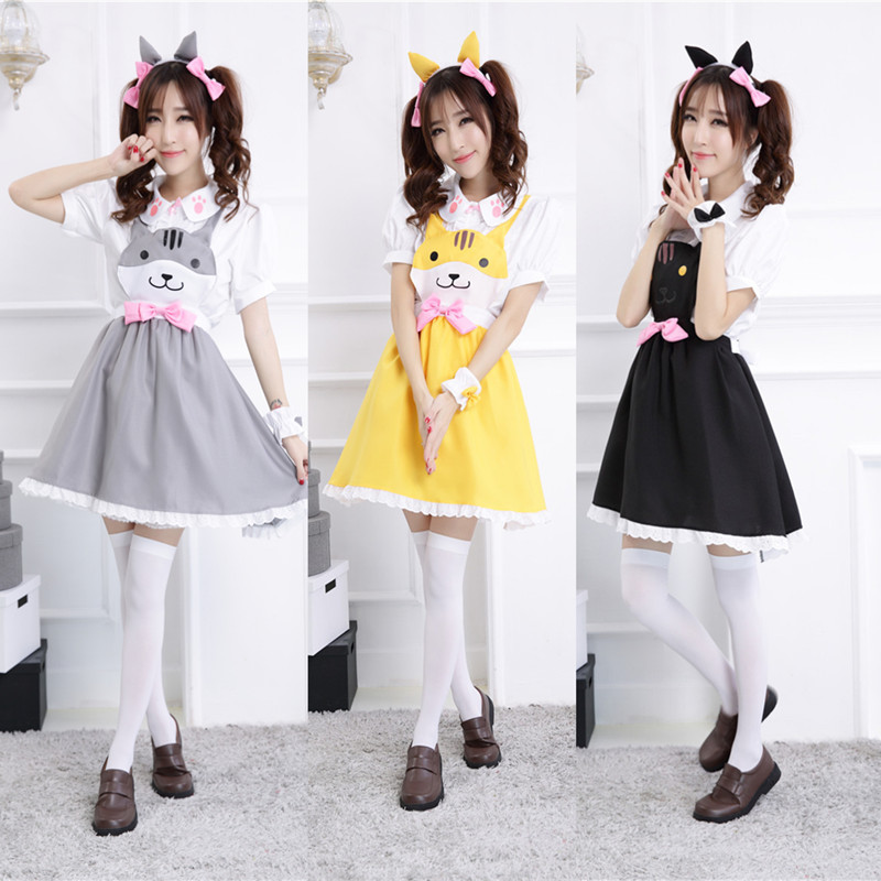 Hot Game 2015 New Arrival Neko Atsume Cosplay Costume Cute Cat Thicken cute Lolita maid costume ...