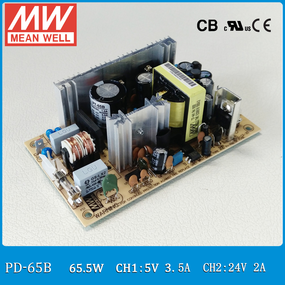 все цены на  Original MEAN WELL PD-65B 45W Dual output 5V 0.4~6A, 24V 0.2~2.6A Switching Power Supply open frame type PD-65  онлайн