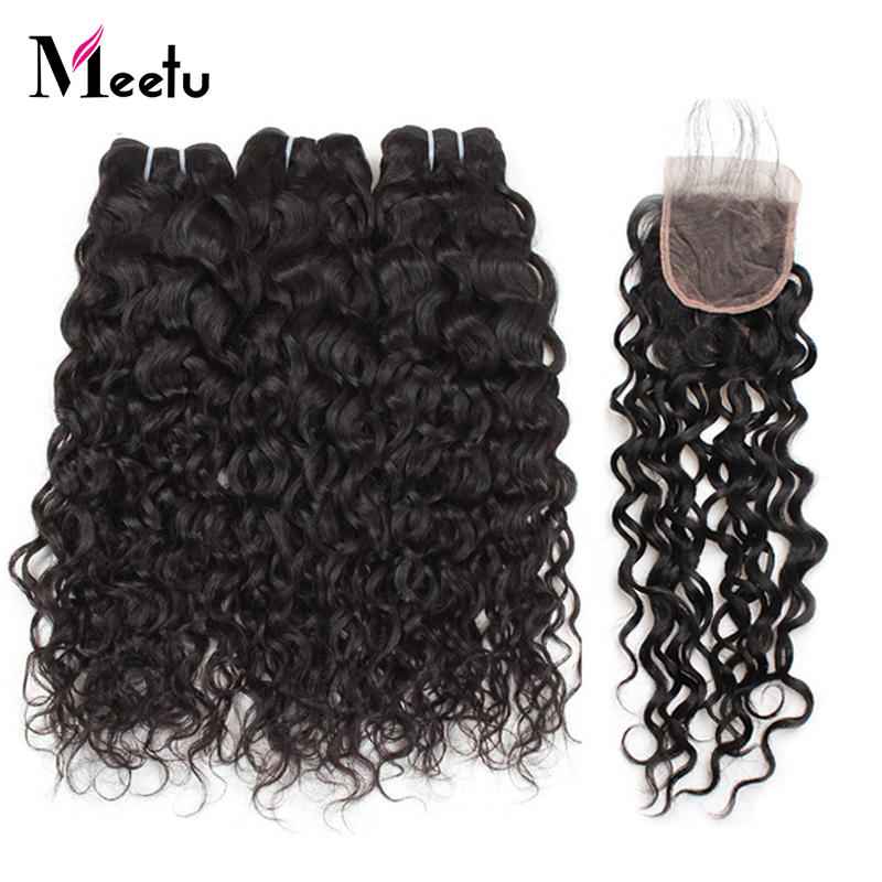Meetu Brazilian Water Wave Bundles With Closure 4x4 inch 3 Bundles with Closure 100 Human Hair