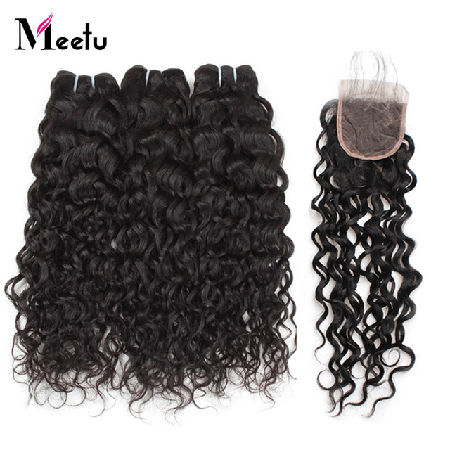 Meetu Brazilian Water Wave Bundles With Closure 4x4 inch 3 Bundles with Closure 100% Human Hair Bundles with Closure Non Remy
