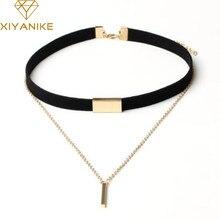 XIYANIKE – collier ras du cou en velours noir pour femme, chaîne dorée, barre, N664