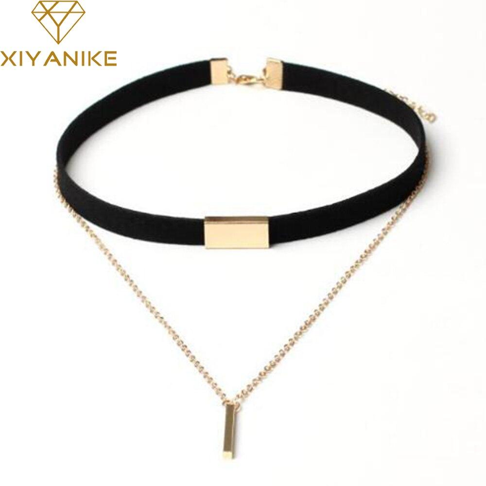 XIYANIKE nowy czarny aksamitny choker naszyjnik złoty łańcuch Bar Chokers naszyjnik dla kobiet collares mujer collier ras du cou N664