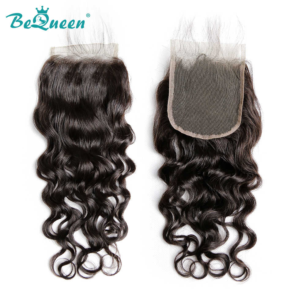 BeQueen бразильские волосы плетение 4 пучка с закрытием волна воды человеческие волосы пучки с закрытием необработанные девственные человеческие волосы наращивание