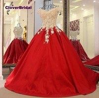 CloverBridal Стразы Цветы off the shoulder Красный бальное платье 50 см поезд бесплатная по индивидуальному заказу для девочек 15 лет на день рождения