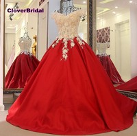 CloverBridal rhinestones flowers off the shoulder red ball gown dress 50cm train free customized girls 15 years old birthday