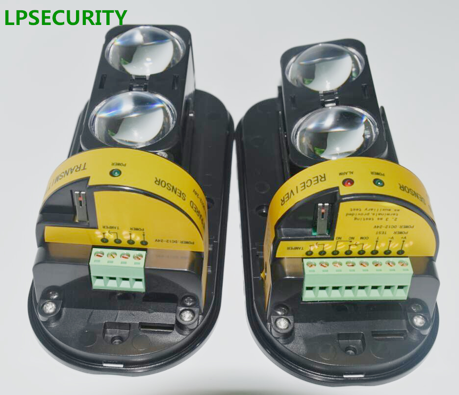 LPSECURITY 100M Infrared Detector Intrusion AlarmBurglar Alarm ABT-100 Photoelectric Dual Beam Perimeter Fence Window Outdoor