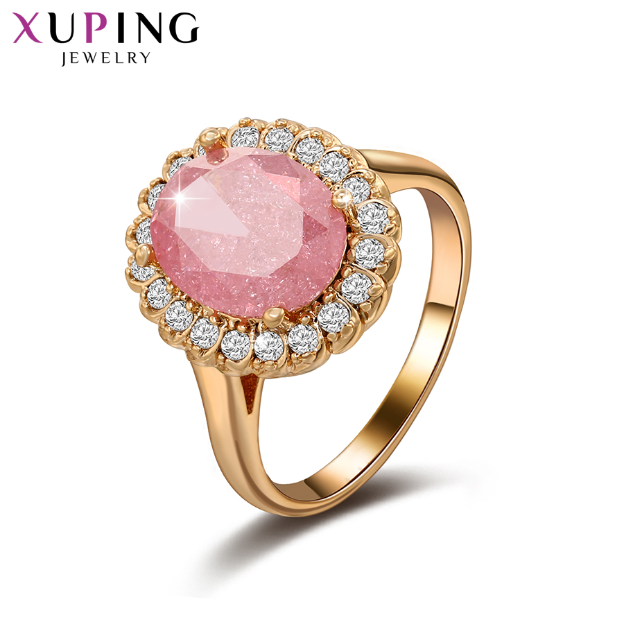 Xuping Fashion Ring With Environmental Copper Pink Ice Stone Jewelry for Women Valentines Day Gifts S79,9-15076