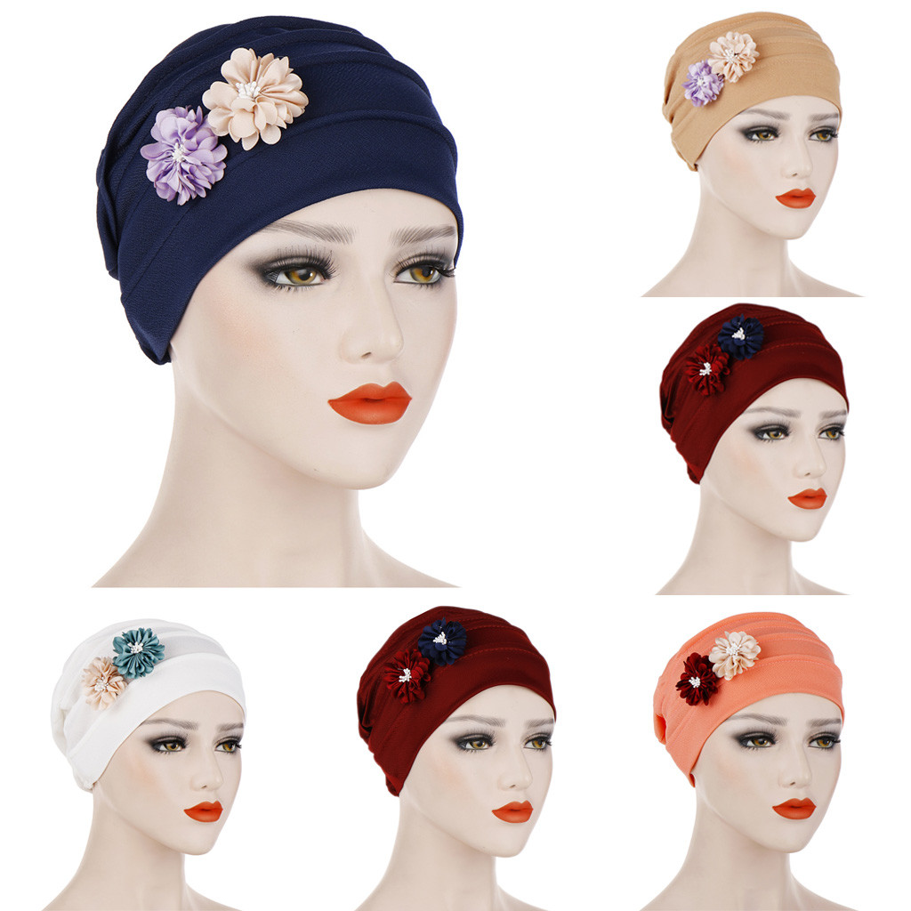Scarfs For Ladies Muslim Scarves Casual Scarf Women Summer Solid Women India Hat Muslim Ruffle Beanie Turban Wrap Cap W417(China)
