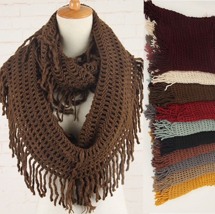 Women Plain Color Hollow Out Fringe Infinity Scarf Round Circle
