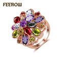 FEEROW Luxury Design Rose Gold plated Mona Lisa Rings with Multicolor Cubic Zirconia for Women Cocktail Jewelry FWRP016