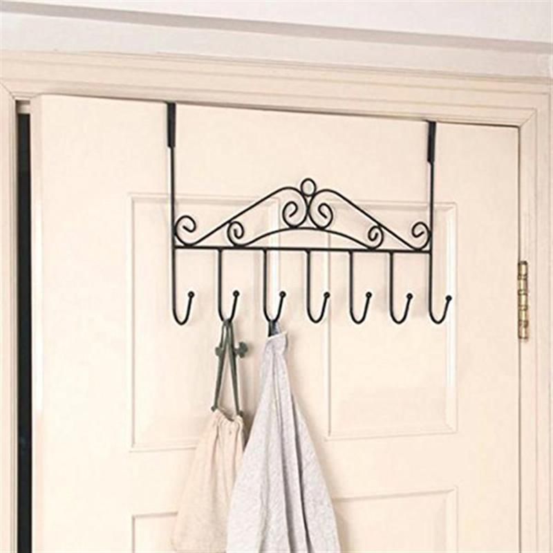 Bathroom Towel Door Hanger: 7 Hooks Bathroom Over Door Hanger For Towel Coat Clothes
