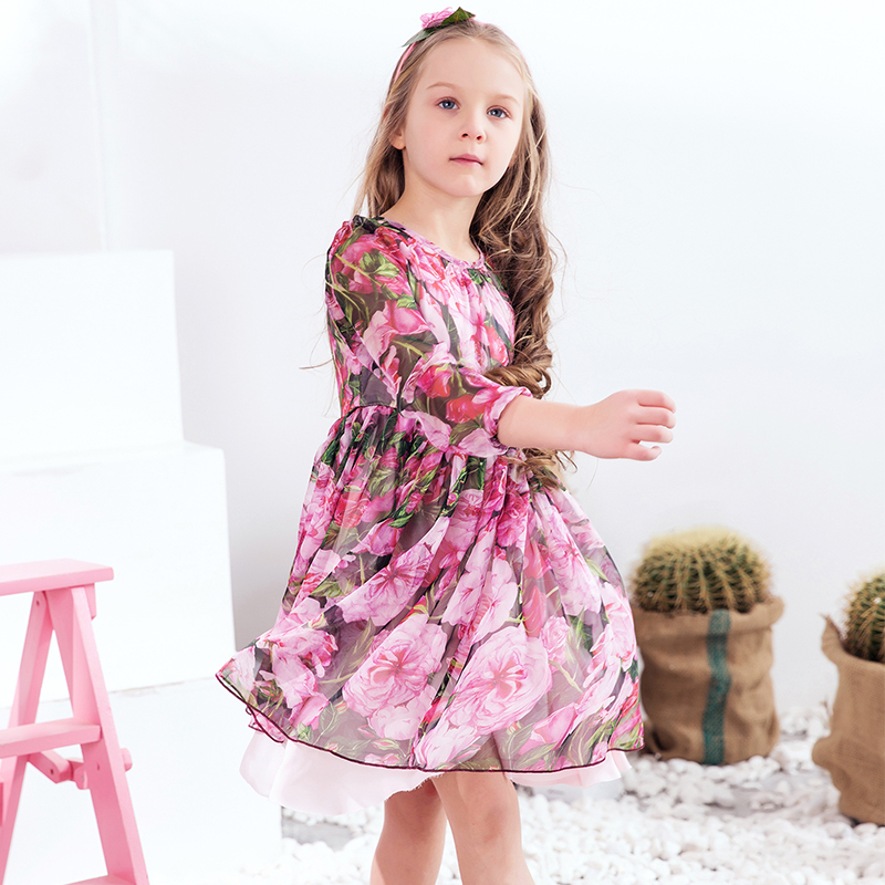 Girls Party Dresses Silk Chiffon 2017 Brand Toddler Dress Princess Costume for Kids Clothes Flower Robe Enfant Children Dress