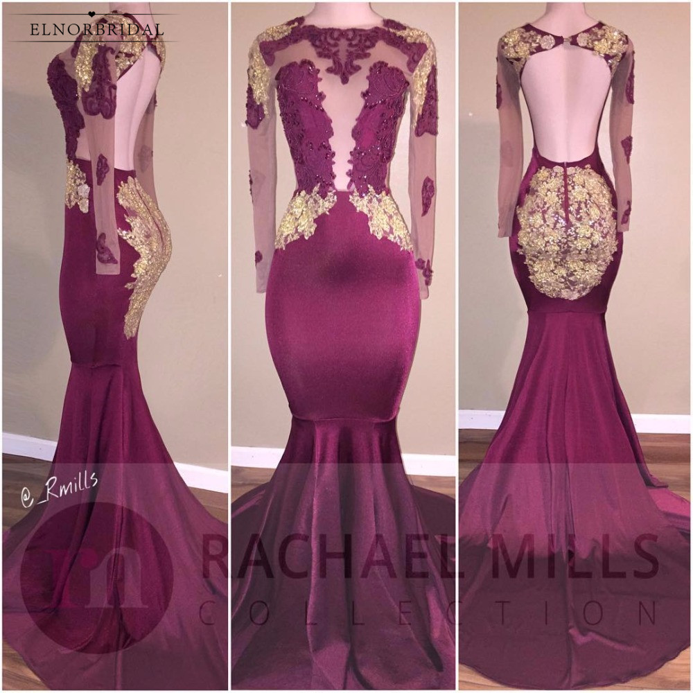 Burgundy African Mermaid Prom Dresses 2018 Long Sleeve Evening Gowns ...