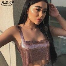 Aimeeka 2017 Sexy Women Metal Shiny Sequins Tank Camis Bralette Crop Tops Summer Short T Shirt Glitter Beach Club Show Wear