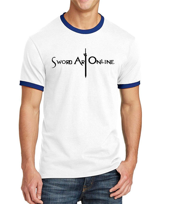 Sword Art Online S.A.O Ringer Tee Shirt Men Japanese Anime 2017 Summer 100% Cotton t Shirts Men Loose Fit Shor Sleeve Shirt
