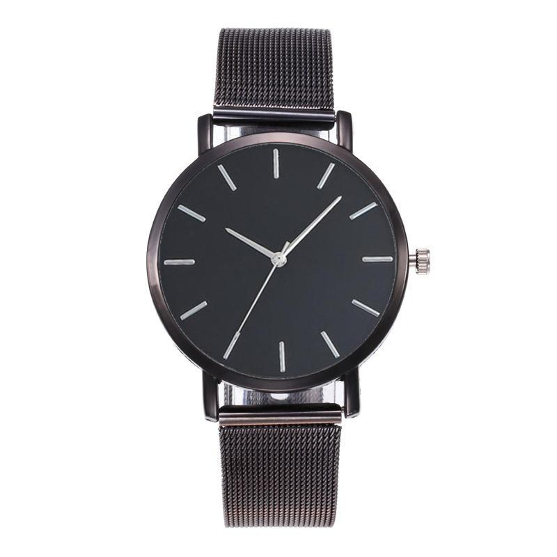 Fashion Women Black Watches Mesh Band Stainless Steel Quartz Wristwatch Ladies Simple Watches Female Elegant Clock Reloj Mujer