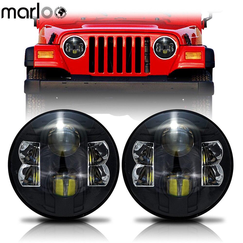 Marloo 2X7 Pollici 80 w H4 Fari A LED Daymaker Wrangler 7