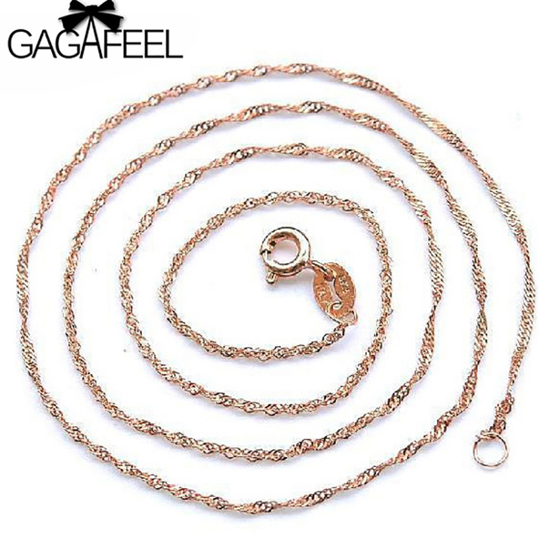10pcs a Lot Wholesale 925 Sterling Silver Chain Necklaces Rose Gold Color Water Wave Necklace For