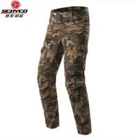 Retro casual SCOYCO Motorcycle knight protective jeans knee protector Rider pants Men Camouflage Moto Leisure pantalones