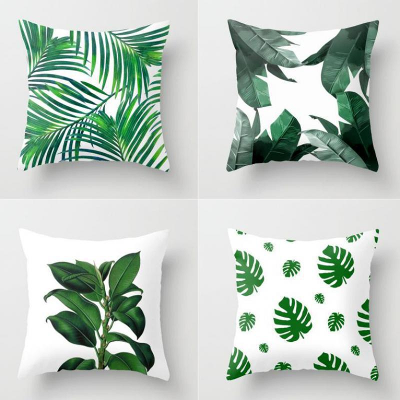 Green Plant Cushion Cover Artificial Tropical Palm Leaves Monstera Banana Leaf Wild Flowers Throw Pillow Case For Home Chair