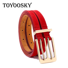 TOYOOSKY Genuine Leather Pigskin Women Belt Double Patchwork Fashion Pin Buckle Belts for Jeans Luxury High Quality
