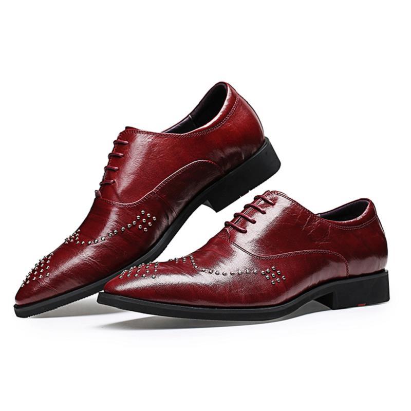 Genuíno Masculino Plana Marrom Couro Negócios Vinho Festa Vestido Conforto Sapatos Clássico Brogue 2018 vermelho Calçado Mycolen De Dos Homens Preto Casamento CxqZApBw0