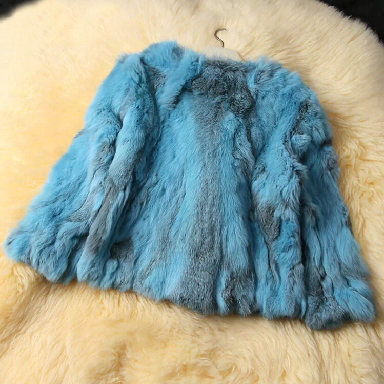 2019 New Women Fashion Brand Design Real Genuine Natural Rabbit Fur Coat  Free Shipping DFP311