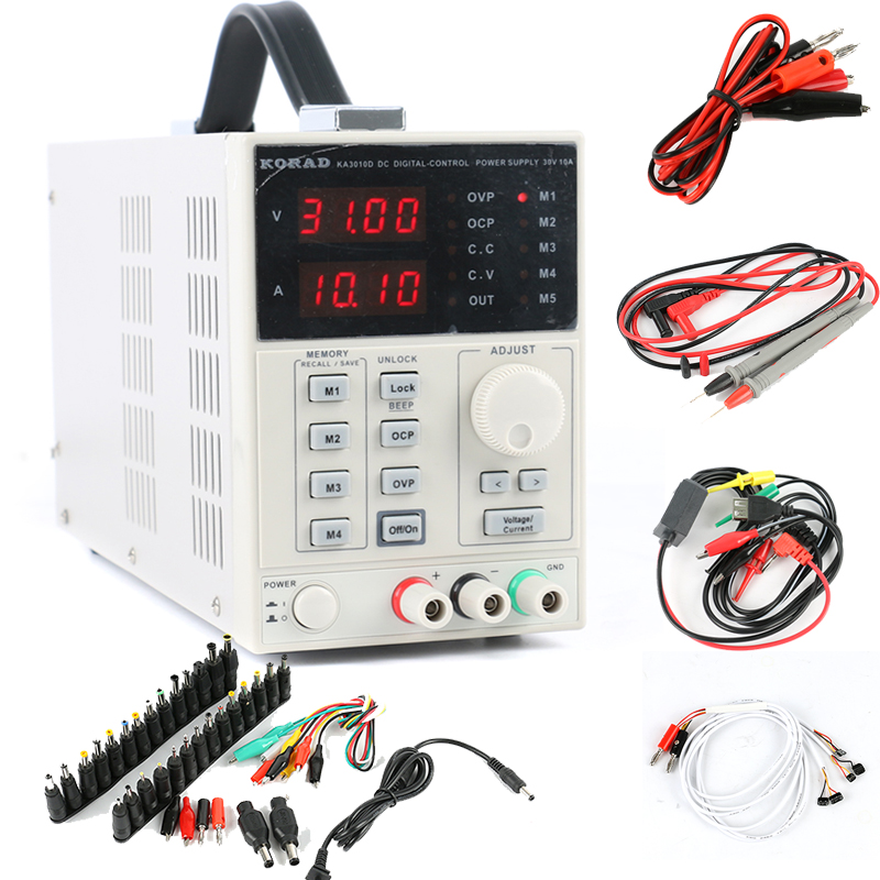 цена на KORAD KA3010D Programmable Precision Variable Adjustable 30V 10A 0.01V 0.001A Linear Digital Lab DC Power Supply +AC DC Jack Set