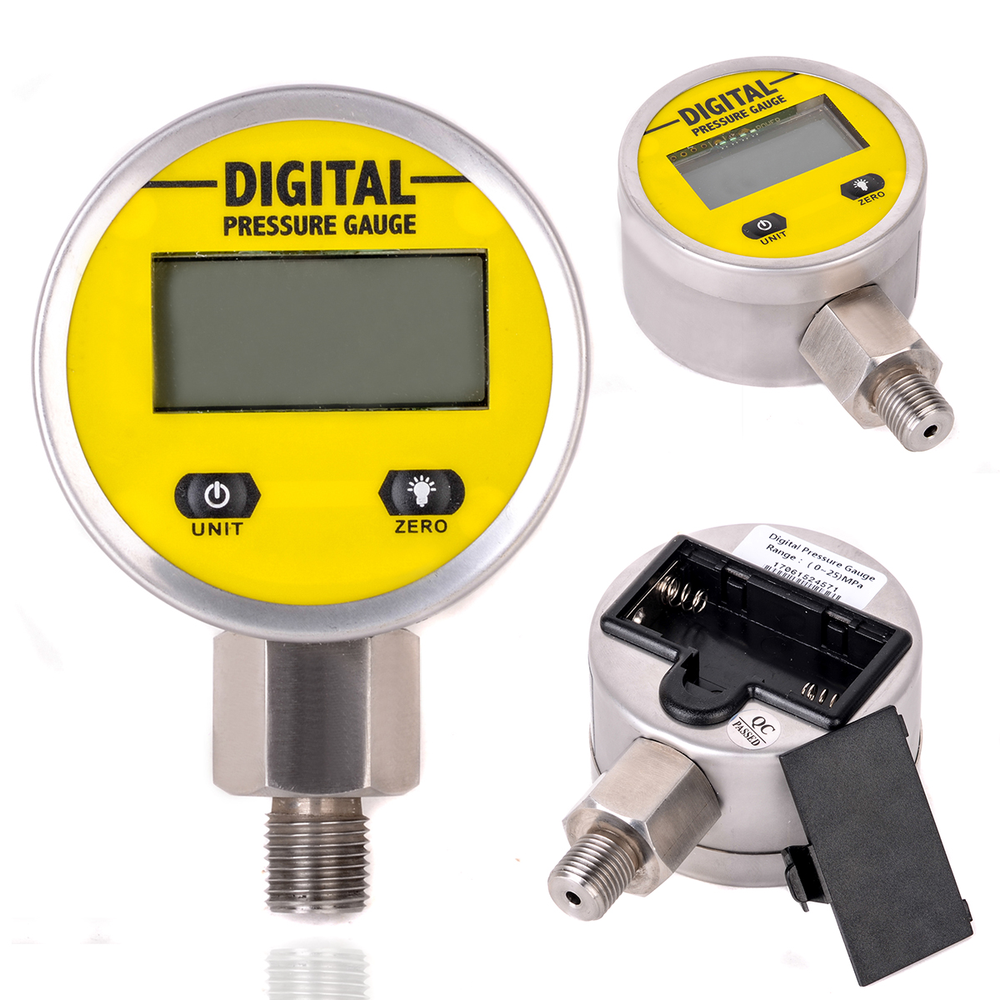 цена на 1pc Digital Hydraulic Pressure Gauge 0-250BAR / 3600PSI NPT1/4 Base Entry For Gas Water Oil Pressure Measurement Mayitr