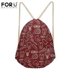 FORUDESIGNS Cartoon dentysta wzór torby szkolne kobiet plecaki ze sznurkiem dla dzieci na co dzień Bookbags laptopa plecak torba plażowa