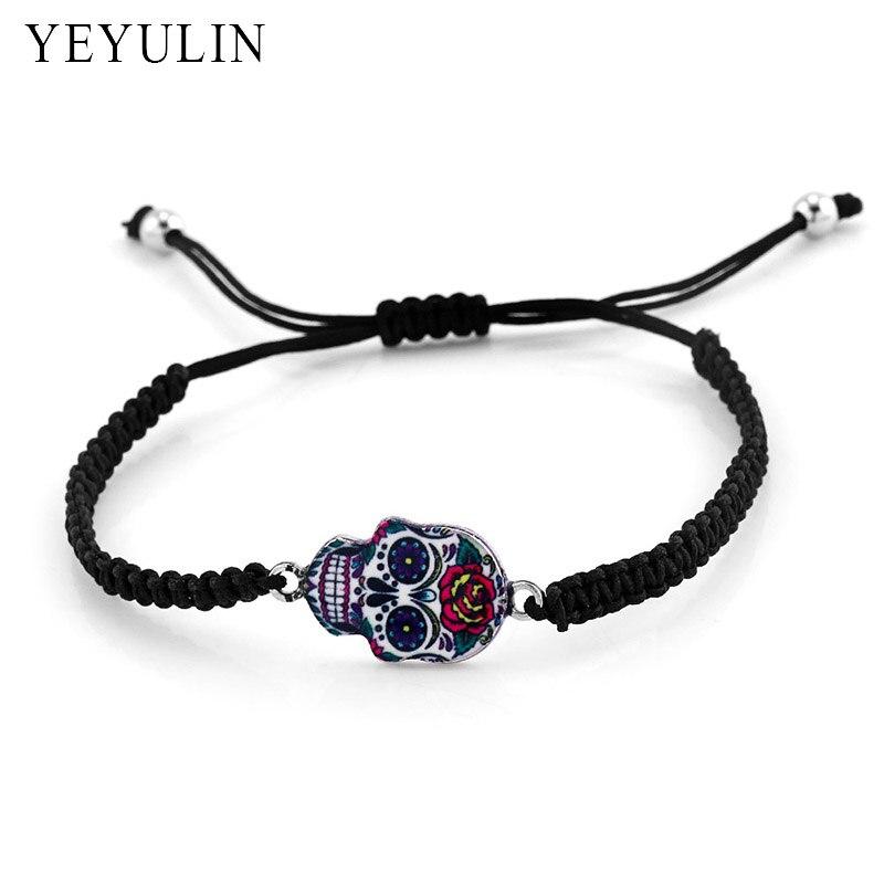 Handmade Trendy Punk Style Colorful Skull Series Male Female Black Braided Cord Bracelet Bangle Jewelry