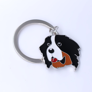Image 2 - Exquisite enamel colored metal pendant Keychain Bernese dog pet jewelry key ring customizable wholesale