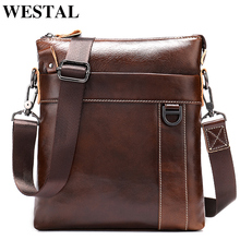 WESTAL Mens Messenger Bag Male Genuine Leather Shoulder Bags