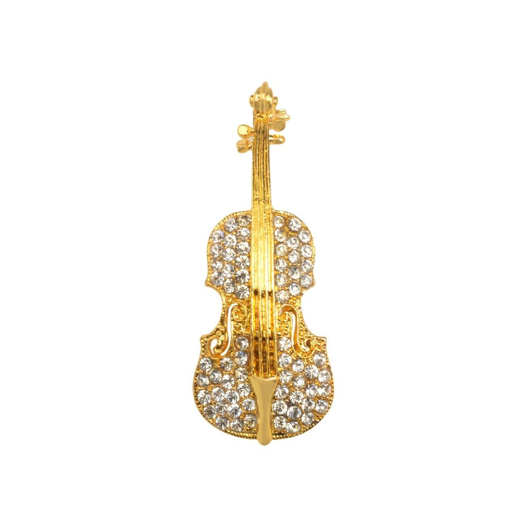 Women Men Retro Crystal Broschen Violine mit Kristallsteinen Brooch Pin