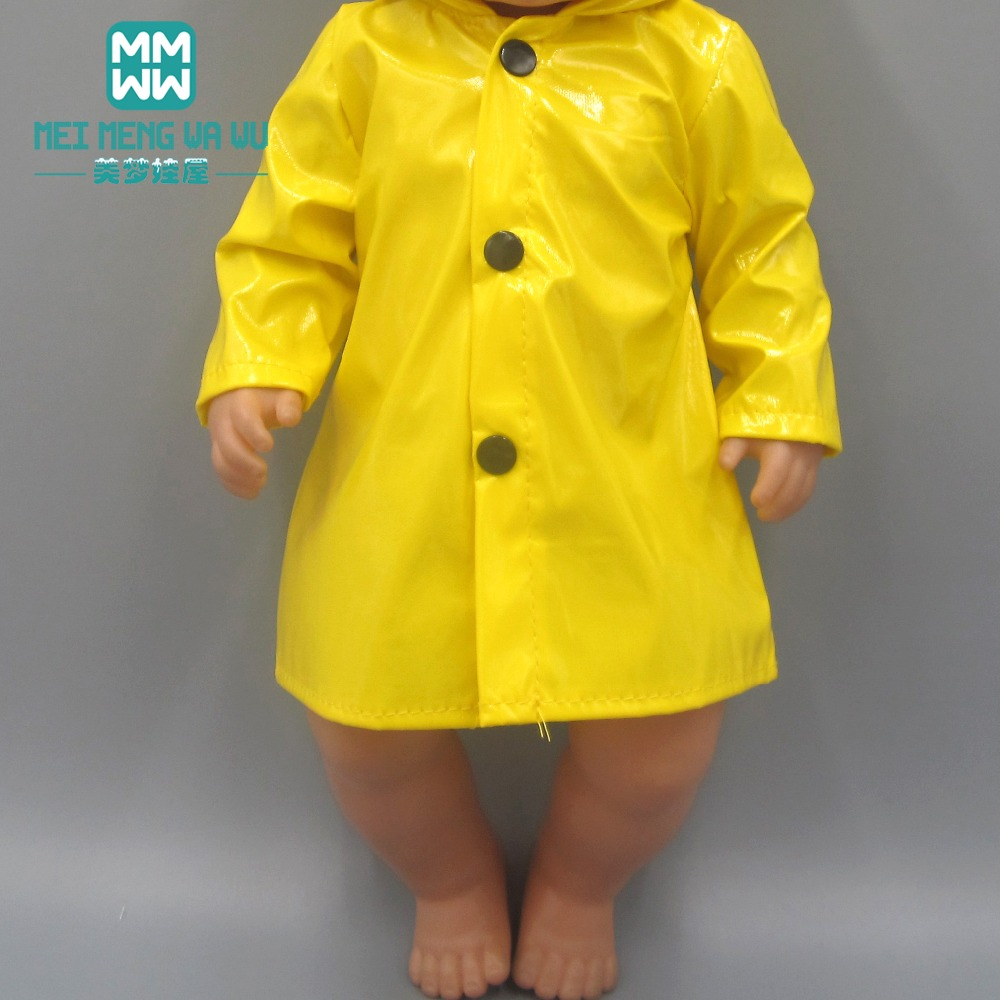Clothes For Doll Fit 43 Cm Toy New Born Doll Accessories And American Doll Baby Yellow Raincoat