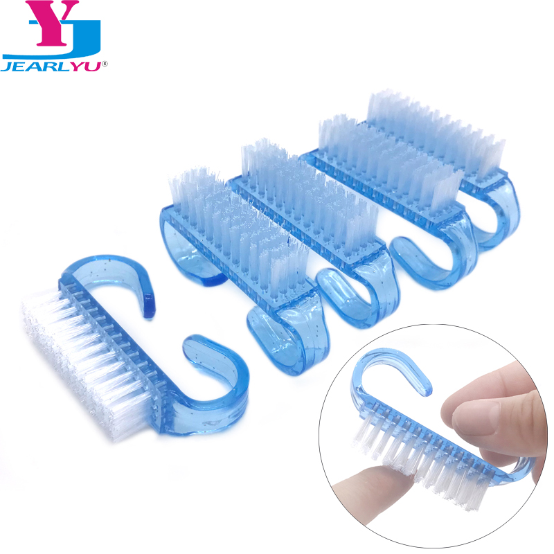 10 Pcs Blue Nail Cleaning Brush Finger Nail Care Dust Clean Handle Scrubbing Brush Tool File Manicure Pedicure Polygel Brushes