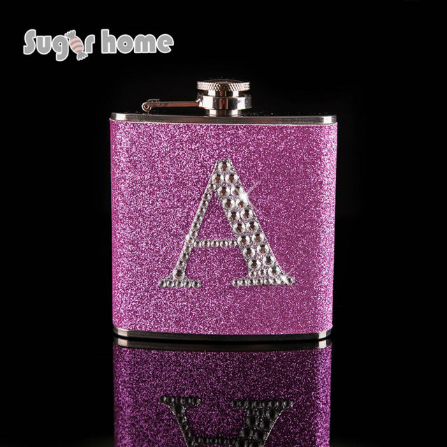 Personalized Glitter leather with rhinestones Monogrammed Letter A-Z wedding gift Stainless Steel Hip Flask  Alcohol bottle