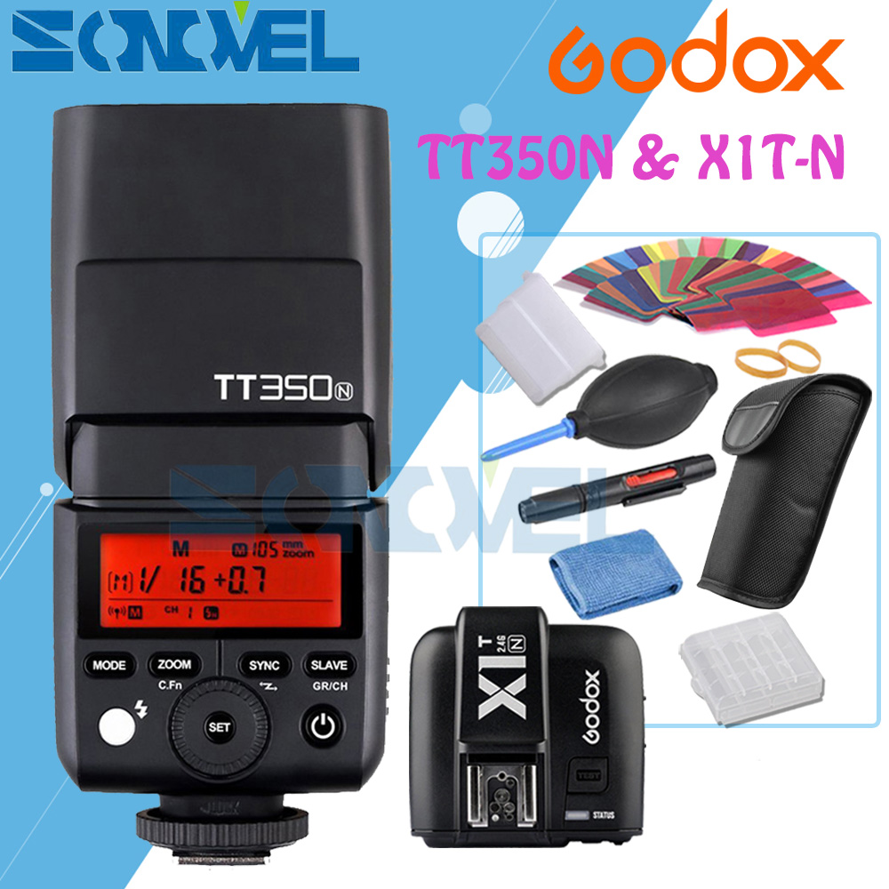 Godox TT350N 2.4G HSS 1/8000s i-TTL GN36 Camera Flash Speedlite + X1T-N Transmitter for Nikon SLR digital camera godox v860iic v860iin v860iis x1t c x1t n x1t s hss 1 8000s gn60 ttl flash speedlite 2 4g transmission godox softbox filter