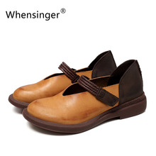 Whensinger-2017 новая коллекция весна женская обувь натуральная кожа смешанные цвета hook & loop 7892