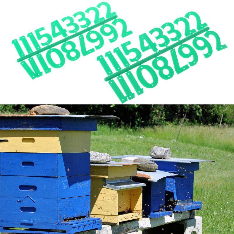 2pcs Beehive Digital Number Bee Box Sign Frame Beekeeping Equipment Tool Beekeeping Marking Board Jade White