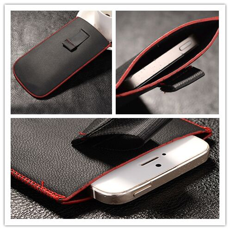 New Red border Top grade Universal Holster skin Waist Leather Pouch Cover Case For Oppo R1k