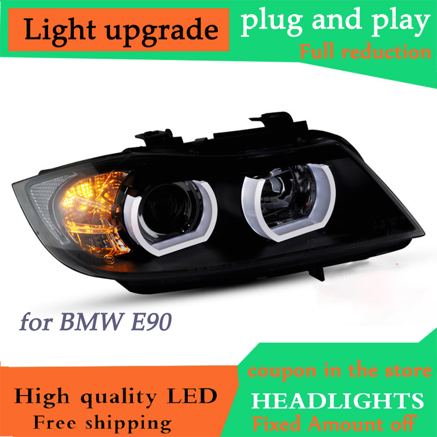 D-YL Car Styling <font><b>LED</b></font> Head Lamp for <font><b>BMW</b></font> <font><b>E90</b></font> <font><b>Headlights</b></font> 318 320 330 <font><b>LED</b></font> <font><b>Headlight</b></font> angel eye <font><b>headlight</b></font> BI XENON front accesspori image