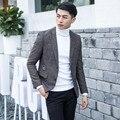 Feliz Navidad Firma Blaze Chaqueta de Los Hombres Slim Fit Remendado Elbow Mens Blazers 2016 Nueva Otoño de Vestir Diseños de Marca