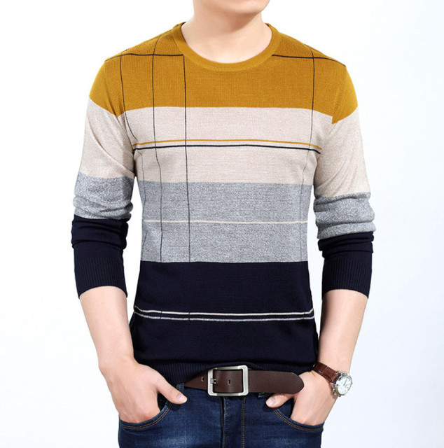 Striped Pullover Men O Neck Sweater men's pullover sweaters masculino casual Mens Sweaters cotton Knitwear Pull Homme