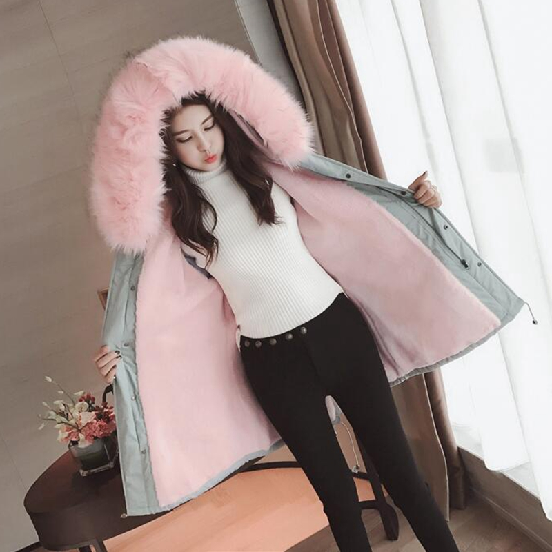 Winter Coat Women Large Fur Collar Hooded Long Jacket Thicken Warm Korean Padded Parkas 2017 Oversized Military Parka WU101 2017 new winter jacket women parka large fur collar hooded thicken coat slim medium long cotton padded big pocket warm parkas