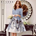 dabuwawa high waisted skirt autumn new korean fashion printing a-line skirts tutu women pink doll